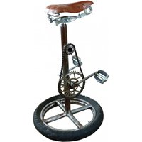 Product photograph showing Phaet Reclaimed Bike Stool In Black Brown Seat