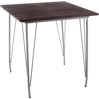 Pherkad Square Wooden Dining Table With Grey Metal Legs