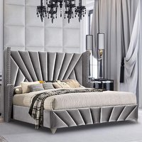 Pikeville Plush Velvet Single Bed In Grey