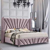 Pikeville Plush Velvet Single Bed In Pink