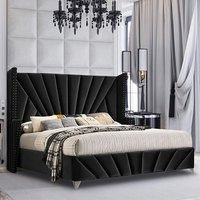 Product photograph showing Pikeville Plush Velvet Super King Size Bed In Black