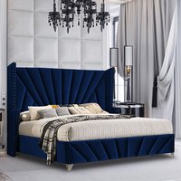 Product photograph showing Pikeville Plush Velvet Super King Size Bed In Blue