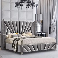 Product photograph showing Pikeville Plush Velvet Super King Size Bed In Grey
