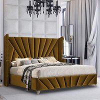 Product photograph showing Pikeville Plush Velvet Super King Size Bed In Mustard