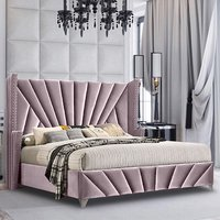Product photograph showing Pikeville Plush Velvet Super King Size Bed In Pink