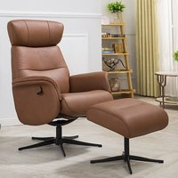 Pimlico Leather Match Swivel Recliner Chair In Tan