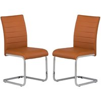 Product photograph showing Pindall Dining Chair In Orange With Chrome Frame In A Pair