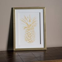Product photograph showing Pineapple Print Framed Wall Art In Gold