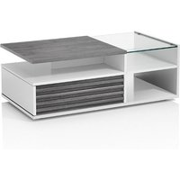 Product photograph showing Pinellas Coffee Table In Grey Oak And White Lacquered Gloss