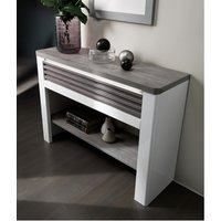 Product photograph showing Pinellas Console Table In Grey Oak And White Lacquered Gloss