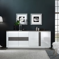 Product photograph showing Pinellas Large Sideboard In Grey Oak And White Lacquered