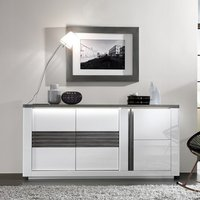 Product photograph showing Pinellas Small Sideboard In Grey Oak And White Lacquered