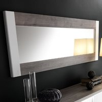 Product photograph showing Pinellas Wall Mirror In Grey Oak And White Lacquered Gloss