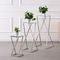 Product photograph showing Pisa Set Of 3 Clear Glass Side Tables With Silver Steel Legs