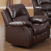 Piscium Leather Full Bonded Recliner 1 Seater Sofa In Brown