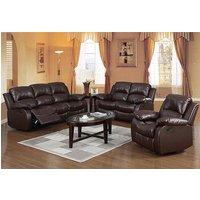 Piscium Leather Full Bonded Recliner Sofa Suite In Brown
