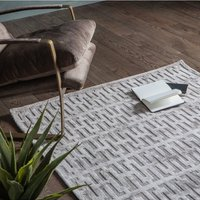 Product photograph showing Pizatro Large Viscose Fabric Rug In Beige