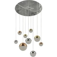 Planets Wall Hung 9 Multi Drop Balls Pendant Light In Chrome