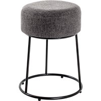 Product photograph showing Plano Round Fabric Stool In Anthracite With Black Metal Base
