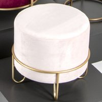 Product photograph showing Plano Round Fabric Stool In Cream With Gold Metal Base