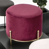 Product photograph showing Plano Round Fabric Stool In Red With Gold Metal Base