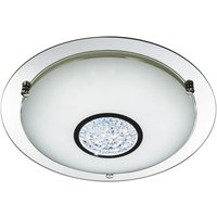 Product photograph showing Pleades 24 Led Flush Ceiling Light With Glass Shade