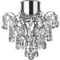 Product photograph showing Pleades Chandelier With Crystal Doplets Flush Ceiling Light