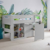 Product photograph showing Pluto Bunk Bed With Bookcase And Study Desk In Dove Grey