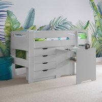 Product photograph showing Pluto Dove Grey Bunk Bed With Chest Of Drawers And Study Desk