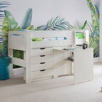 Product photograph showing Pluto Stone White Bunk Bed With Chest Of Drawers And Study Desk