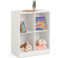 Product photograph showing Pluto Wooden Cube Bookcase In Stone White
