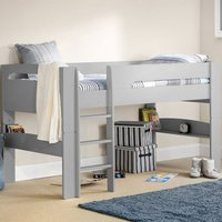 Product photograph showing Pluto Wooden Midsleeper Bunk Bed In Dove Grey