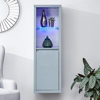 Product photograph showing Point High Gloss Wall Mounted Display Cabinet In Grey With Led