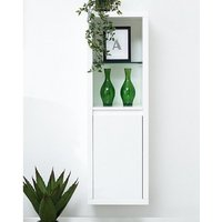 Product photograph showing Point High Gloss Wall Mounted Display Cabinet In White With Led