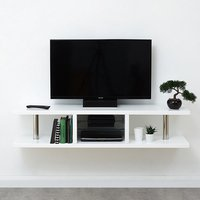 Point High Gloss Wall Mounted TV Stand In White With LED