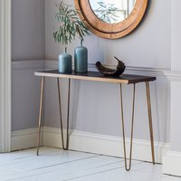 Product photograph showing Pompeii Console Table In Bronze With Metal Base