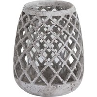 Product photograph showing Poppy Large Conical Ceramic Lattice Hurricane Lantern In Stone