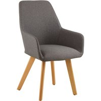 Product photograph showing Porrima Fabric Upholstered Leisure Bedroom Chair In Grey