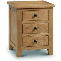 Porsha Three Drawers Bedside Cabinet In Waxed Oak Finish