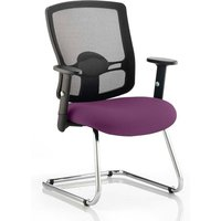 Product photograph showing Portland Black Back Visitor Chair With Tansy Purple Seat