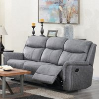 Product photograph showing Portland Fabric 3 Seater Recliner Sofa In Silver Grey