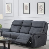 Product photograph showing Portland Fabric 3 Seater Recliner Sofa In Slate Grey