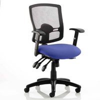 Portland III Black Back Office Chair With Stevia Blue Seat