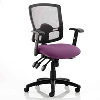 Product photograph showing Portland Iii Black Back Office Chair With Tansy Purple Seat