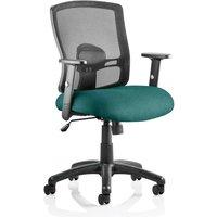 Portland Task Black Back Office Chair With Maringa Teal Seat