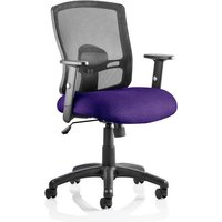 Product photograph showing Portland Task Black Back Office Chair With Tansy Purple Seat
