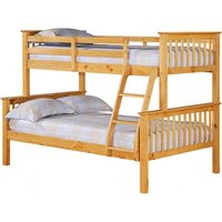 Product photograph showing Porto Triple Wooden Bunk Bed In Pine