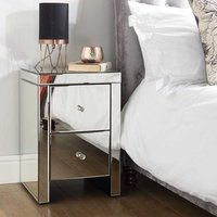 Portofino Mirrored Bedside Cabinet With 2 Drawers