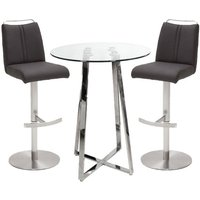 Poseur Glass Round Bar Table With 2 Giulia Anthracite Bar Stools