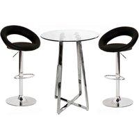 image-Poseur Glass Top Bar Table with 4 Leoni Black Bar Stools